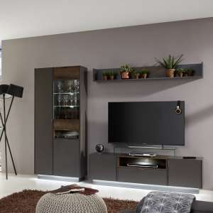 Elle Living Room Set In Terra Grey And Monastary Oak With LED
