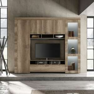 Ellie Wooden Entertainment Wall Unit In Canyon Oak With LED
