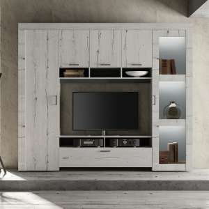 Ellie Wooden Entertainment Wall Unit In White Oak With LED