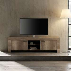 Ellie Wooden TV Stand Wide In Canyon Oak With 2 Doors