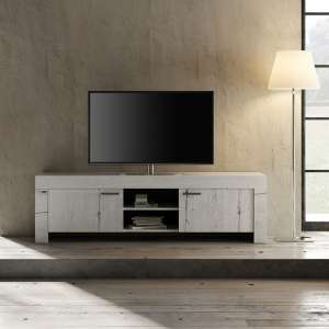 Ellie Wooden TV Stand Wide In White Oak With 2 Doors