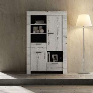 Ellie Wooden Display Cabinet In White Oak With 2 Doors