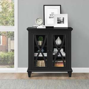 Ellington Wooden Display Cabinet In Black With 2 Doors