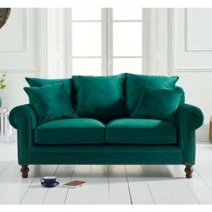 Ellopine Plush Fabric Upholstered 2 Seater Sofa In Green