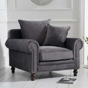 Ellopine Plush Fabric Upholstered Armchair In Grey