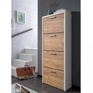Ellwood Shoe Cabinet In White And Golden Oak With 4 Flap Doors