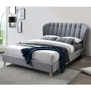 Elm Fabric Small Double Bed In Grey Velvet