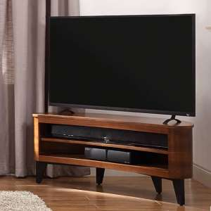 Elmon Wooden Corner TV Stand In Walnut With Black Legs