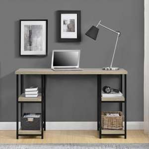 Elmwood Wooden Laptop Desk In Distressed Grey Oak