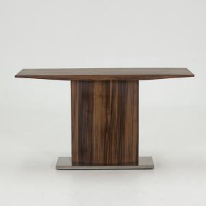 Elora Console Table In Walnut With Brushed Stainless Steel Base