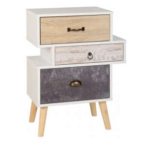 Elston Bedside Cabinet In White And Distressed Effect