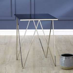 Elstra Square Glass Side Table With Polished Steel Frame