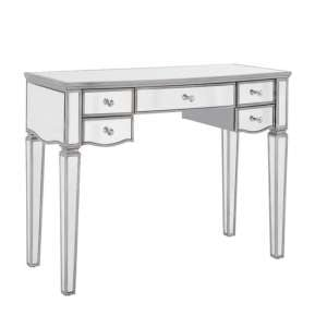 Elysee Glass Dressing Table In Mirrored With 5 Drawers