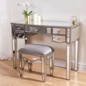 Elysee Glass Dressing Table In Mirrored With Stool