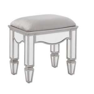 Elysee Glass Dressing Table Stool In Mirrored