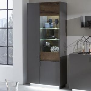 Emerald Display Cabinet In Grey And Monastry Oak With LED