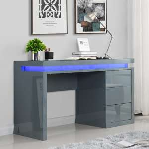 Emerson Computer Desk In Grey High Gloss With LED