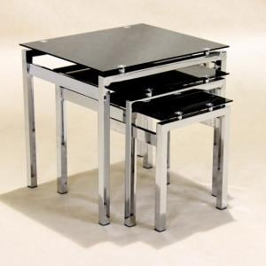 Emerson Glass Nest Of 3 Tables In Black With Chrome Legs