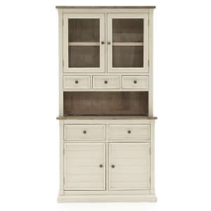Emery Wooden Buffet Hutch In Antique White With 4 Doors