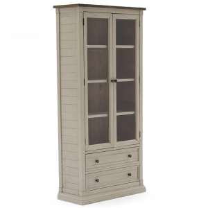 Emery Display Cabinet In Antique White With 2 Doors