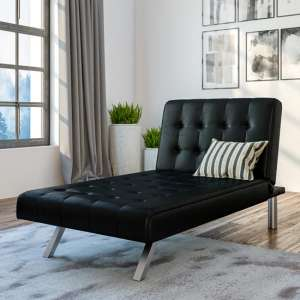 Emily Faux Leather Chaise Single Sofa Bed In Black