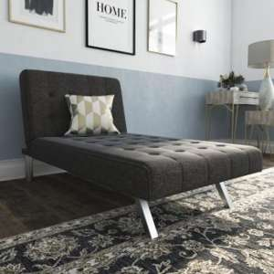 Emily Faux Leather Chaise Single Sofa Bed In Linen Grey