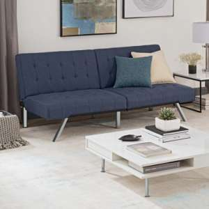 Emily Faux Leather Convertible Sofa Bed In Navy Linen Blue