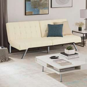 Emily Faux Leather Convertible Sofa Bed In Vanilla