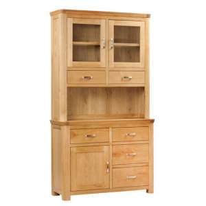 Empire Small Display Cabinet In Oak With 3 Doors And 6 Drawers