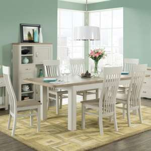 Empire Stone Painted Large Dining Set With 6 Dining Chairs