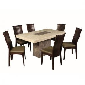 Encore Marble Dining Table In Dark Brown Cream With 6 Chairs