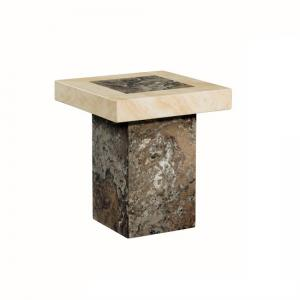 Encore Marble End Table In Dark Brown And Cream