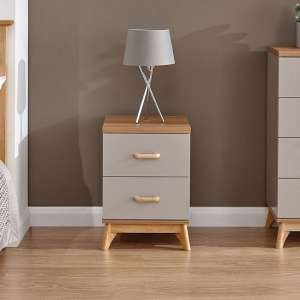Enid Wooden Bedside Cabinet In Grey With Two Drawers