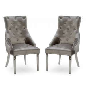 Enmore Crushed Velvel Dining Chair In Champagne In A Pair