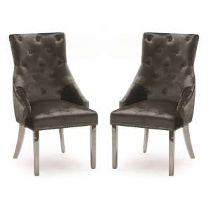 Enmore Crushed Velvel Dining Chair In Charcoal In A Pair