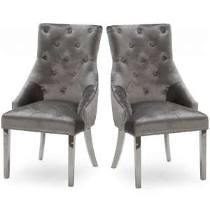 Enmore Crushed Velvel Dining Chair In Pewter In A Pair