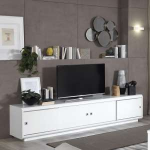 Enox Large TV Stand In White High Gloss With 4 Sliding Doors