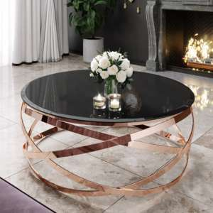 Enrico Black Glass Coffee Table With Rose Gold Steel Legs