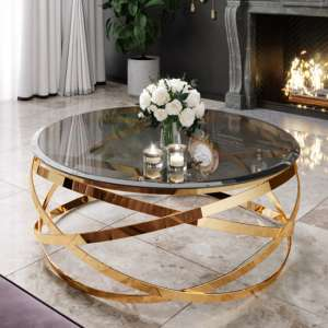 Enrico Grey Glass Coffee Table With Gold Stainless Steel Legs