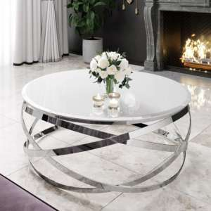 Enrico White Glass Coffee Table With Silver Stainless Steel Legs