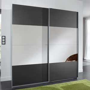 Enter Sliding Door Wooden Wardrobe In Graphite And Aluminium