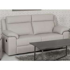 Enzo Faux Leather 3 Seater Recliner Sofa In Putty