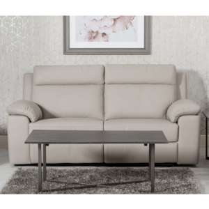 Enzo Faux Leather Fixed 3 Seater Sofa In Putty