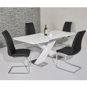 Enzo Extendable Dining Table White Gloss And 6 Orly Black Chairs