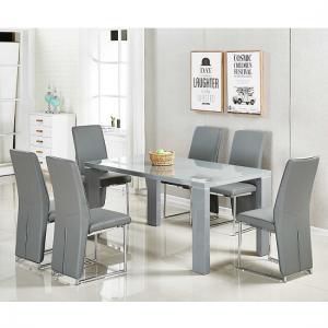 Enzo Glass Dining Table Large In Grey Gloss With 6 Ebony Chairs