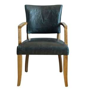Epping PU Leather Arm Chair In Ink Blue With Wooden Frame