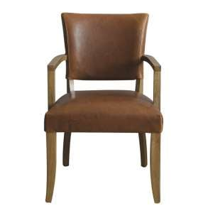 Epping PU Leather Arm Chair In Tan Brown With Wooden Frame