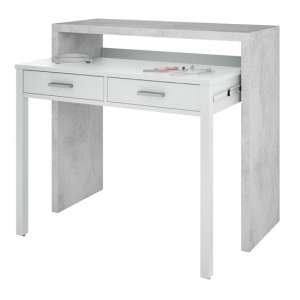 Epping Pull-Out Wooden Laptop Desk In White And Concrete