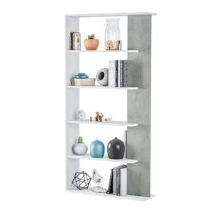 Epping Wooden Bookcase In White And Concrete With 5 Shelves
