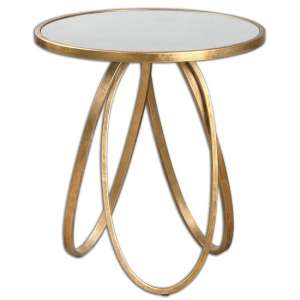 Epsilon Mirrored Accent Table In Gold Leaf Metal